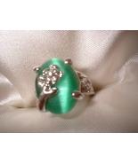 Green Cats Eye Flower Ring  Bargain Bin Under $10.00 - $5.99