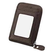 Leather Credit Card Holders RFID Blocking Card Case Money Orgnianzer Wallet, Cof - $14.71