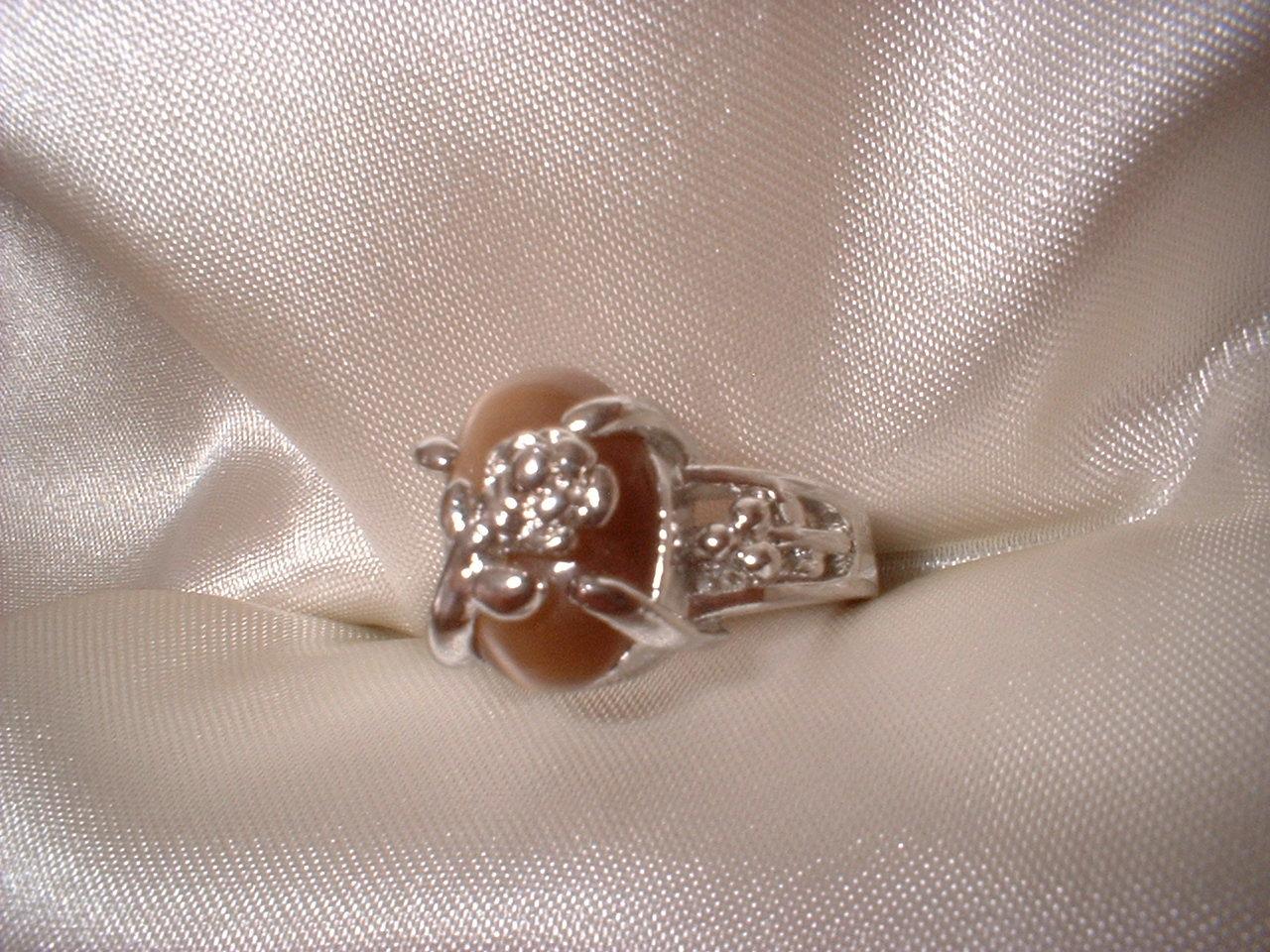Brown Cats Eye Flower Ring Size 7  Bargain Bin Under $10.00