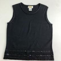 Talbots Sweater Shell Tank Top Women's S Black Knit Beaded Sleeveless Si... - $18.95