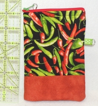 Zippered Cell Phone Case - Small - Red & Green Peppers - ZPC - $4.00