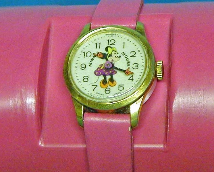 Minnie Mouse Stem Wind Wrist Watch with pink leather band- Disney