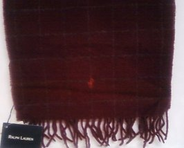 Ralph Lauren Lambs Wool Scarf Burgundy New - $25.00