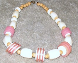 Vintage Costume Jewelry Pink, White & Wood Bead Necklace - $7.95