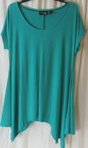 Attitudes by Renee Women's Top Sz M Green Handkerchief Hem Tunic A350912 - $16.82