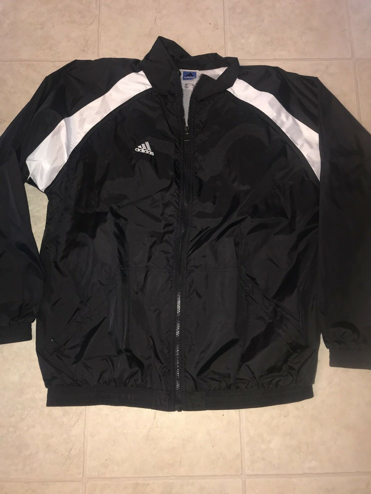 Primary image for Adidas Team ~ Men's Black White 3-Striped Track Mesh Lined Jacket EUC ~ XL