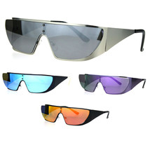 Shield Gothic Robotic Funky Disco Metal Rim Color Mirror Sunglasses - $12.95