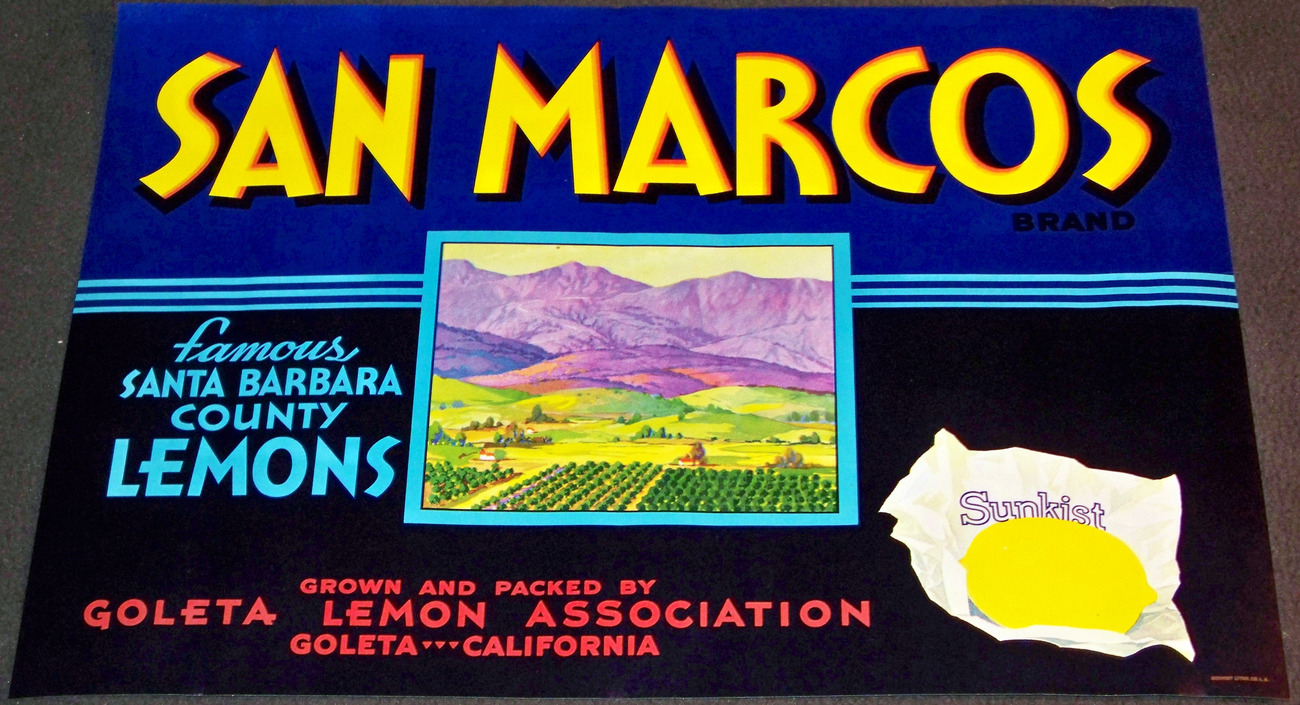 California! San Marcos Crate Label, 1940's