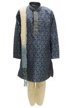 Krishna Sarees BYK3170 Blue and Ivory Boys Kurta Pyjama Indian Fancy Dress - $26.43+