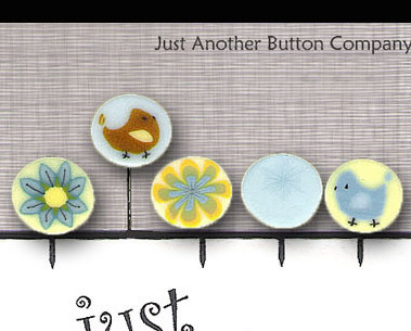 Yellow Lemonade Just Pins JP104y set 5 for pincushions JABC Just Another Button