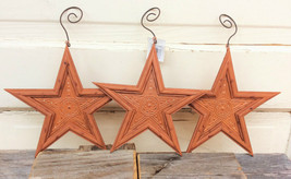 THT Primitive Decor Ornaments - Harvest Orange Tin Stars 3pc Set - $12.82