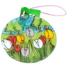 Tulips Spring Flower Fused Art Glass Ornament Sun Catcher Handmade Ecuador