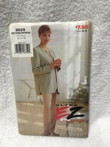 Primary image for VOGUE SEWING PATTERN 8929 JACKET TOP PANTS MISSES UNCUT VINTAGE 1994
