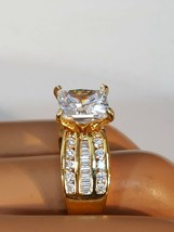Vintage CZ Sterling Silver Gold Plated Engagement Ring Size 8 - $40.00