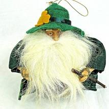 "Santa Ornament Irish Celtic Christmas Cloth Green Shamrock 5.5"" - $19.79"
