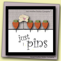 Carrot Patch Just Pins JP114 set 5 for pincushions JABC Just Another Button Co - $13.05