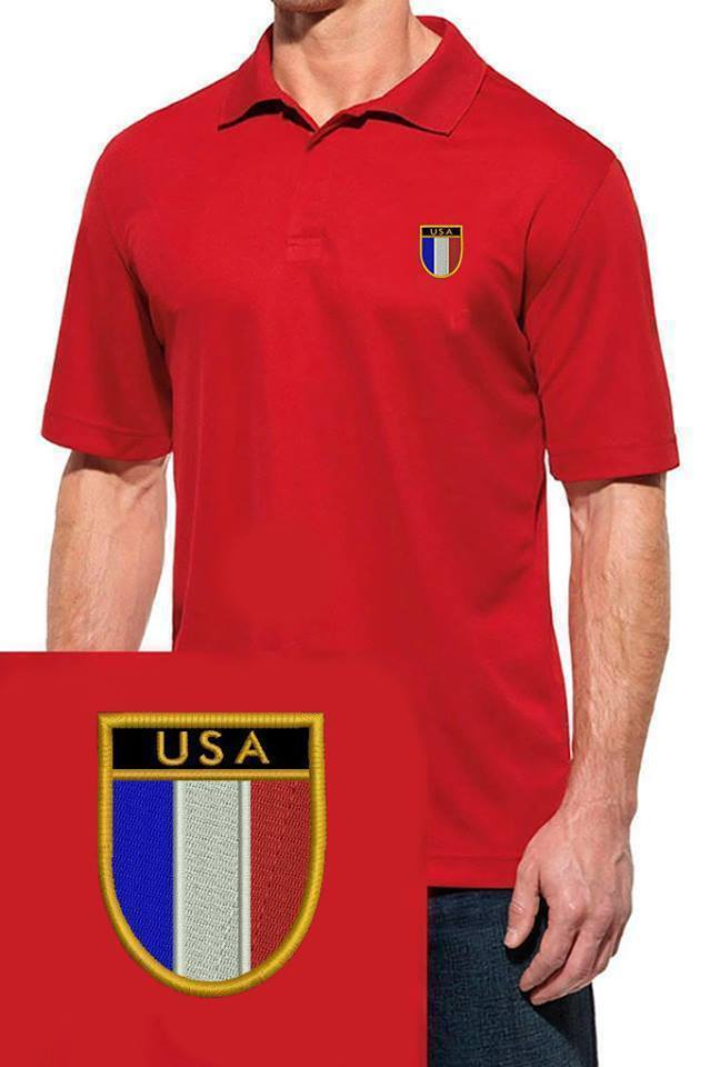 09324054 USA UNITES STATES OF AMERICA FLAG SHIELD LOGO EMBROIDERED RED POLO SHIRT