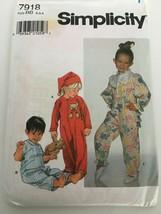 Simplicity Sewing Pattern 7918 Toddlers Sleeper Hat Pajamas PJs Sz 2 3 4... - $5.99