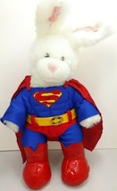 "Build A Bear Bunny Rabbit White Pink Plush 16"" in superman outfit BABW - $36.53"