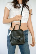 NWT MICHAEL KORS RILEY SMALL FLAP PACK PEBBLED LEATHER CROSSBODY BAG BLACK - $79.08
