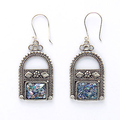 Hand Made Sterling Silver & Anciant Roman Glass Earrings