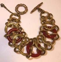 Vintage Stephen Dweck Bronze Carnelian Interlocking Circles Bracelet Rar... - $290.11