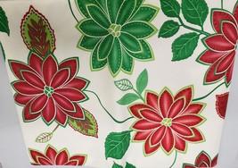 "Peva Vinyl Tablecloth, 60"" Round, WINTER CHRISTMAS RED & GREEN FLOWERS b... - $11.87"