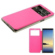 Samsung Galaxy Note 8 Window Screen Leather Flip Wallet Case Hybrid Cover PINK - $8.40