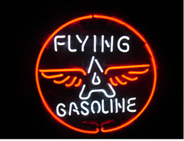 Flying a Gasoline Neon Sign Handcrafted Real Glass Tubes Neon Light Sign - $124.95+