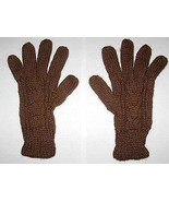 Brown alpaca wool gloves, cable pattern mittens  - $16.00