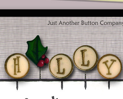 H Is For Holly Just Pins JP137 set 5 for pincushions JABC Just Another Button Co