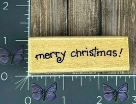 Penny Black Merry Christmas Rubber Stamp 2001 2282E Fun Font Wood #AA8 - $4.21