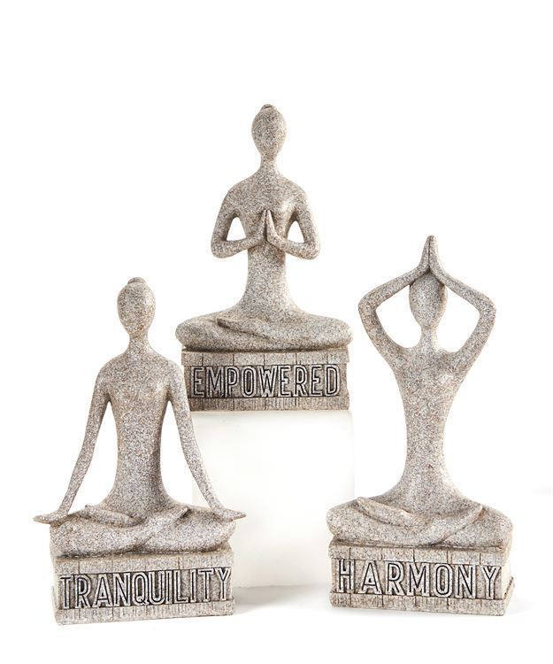 Set of 3 - Zen Yoga Design Figurines - Tranquility - Empowered - Harmony