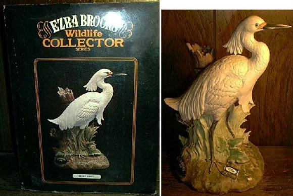 Ezra Brooks SNOWY EGRET porcelain decanter in box EMPTY