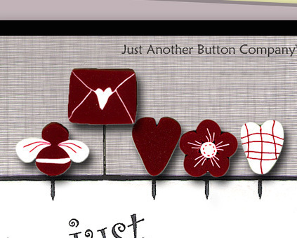 Be My Valentine Just Pins JP143 set 5 for pincushions JABC Just Another Button