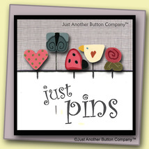 Spring In The Air Just Pins JP144 set 5 for pincushion JABC Just Another Button  - $13.05
