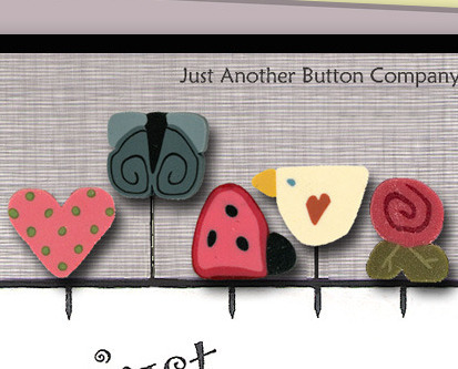 Spring In The Air Just Pins JP144 set 5 for pincushion JABC Just Another Button