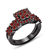 Red Garnet Black Gold Finish Pure 925 Silver Solitaire W/ Accents Weddin... - $85.99