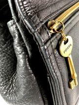 Fossil Vintage Black Leather Multi Pocket Shoulder Bag Brass Tone Hardware image 11