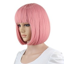 "eNilecor Short Bob Hair Wigs 12"" Straight with Flat Bangs Synthetic Colo... - $18.50"