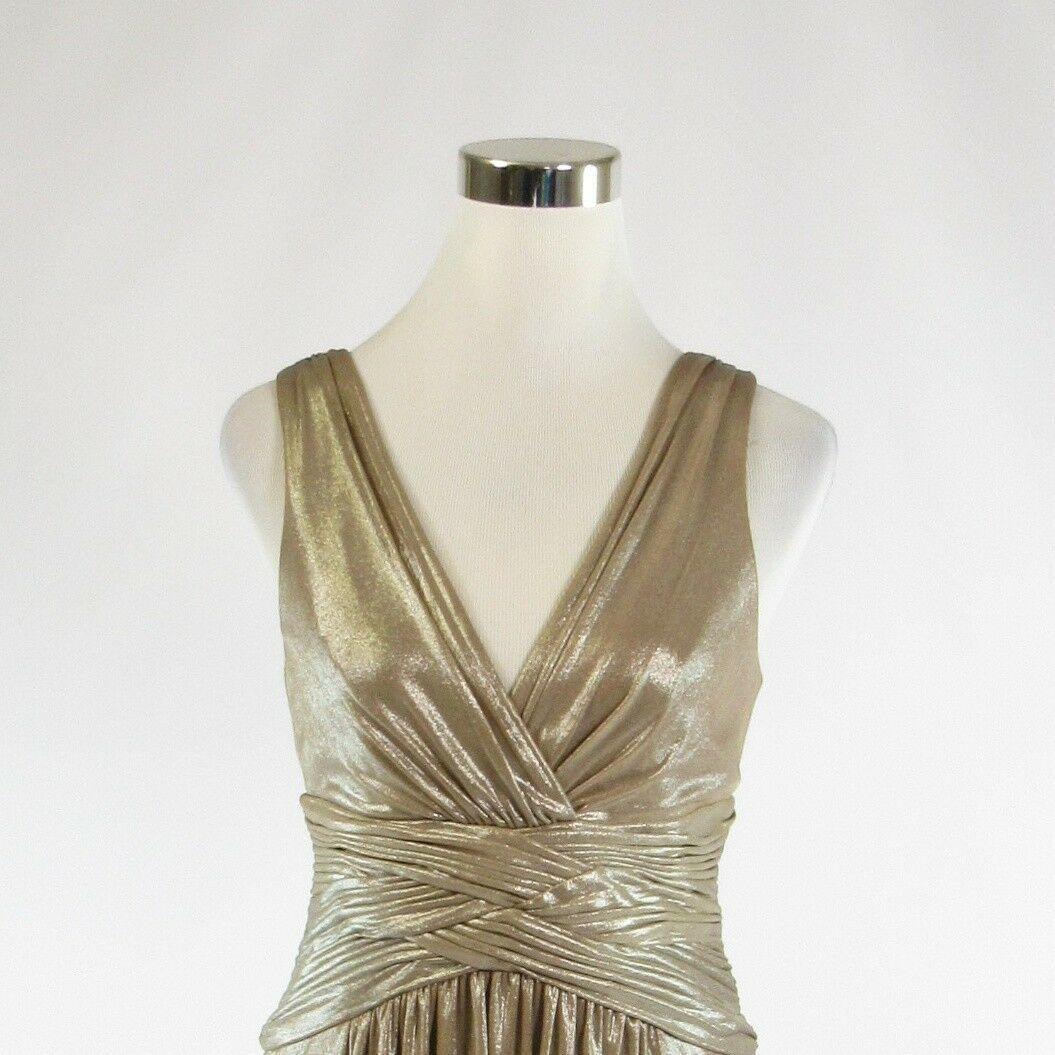 Metallic gold BCBG MAX AZRIA shimmery sleeveless A-line dress S