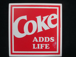 Coca-Cola Square Decorative Wood Block Sign Coke Adds Life Red AS IS- BR... - $3.96