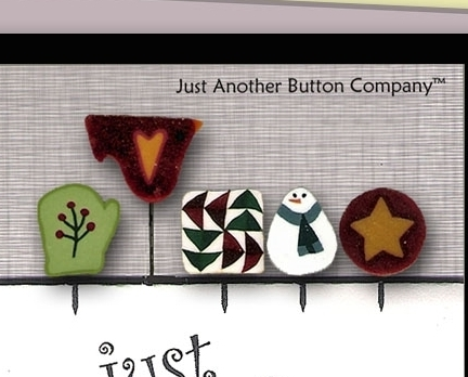 Pine Tree Just Pins JP202 set 5 for pincushions JABC Just Another Button Co