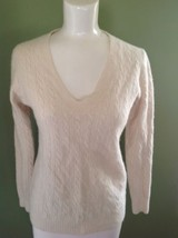 J. Crew Sweater V-neck Cable Knit Ivory Wool Cashmere Medium - $19.80