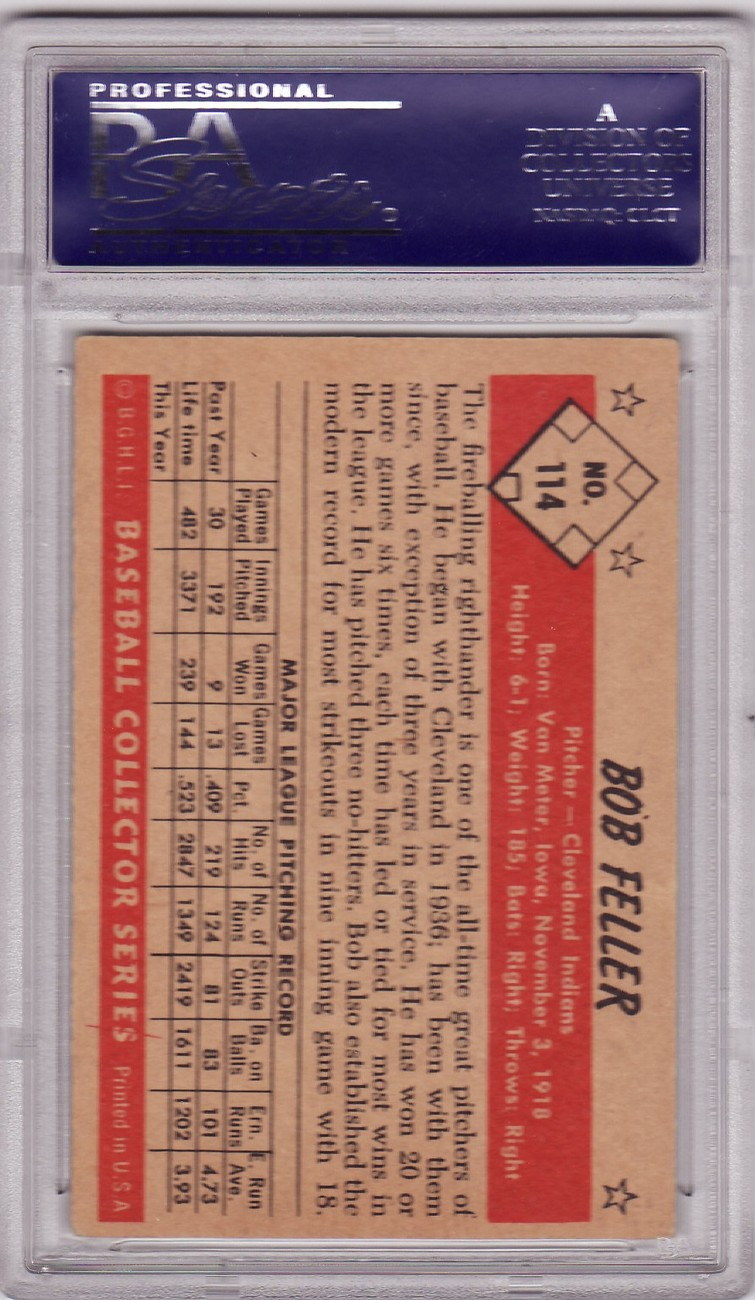 Bob Feller 1953 Bowman ( Color ) #114 PSA 4 VG-EX