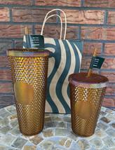 Set of 2 Starbucks Studded Tumbler Cups Copper 50th Anniversary 16 oz + ... - $147.00