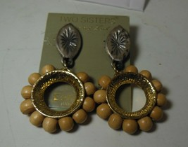 Two Sisters 80's Statement Dangle Earrings Hand Crafted - $12.86