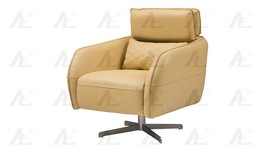 American Eagle EK-CH06A-YO Yellow Full Italian Leather Swivel Accent Chair - $1,187.00