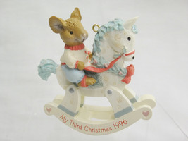 American Greetings My Third Christmas 1996 Ornament Mouse on Rocking Horse - $10.39
