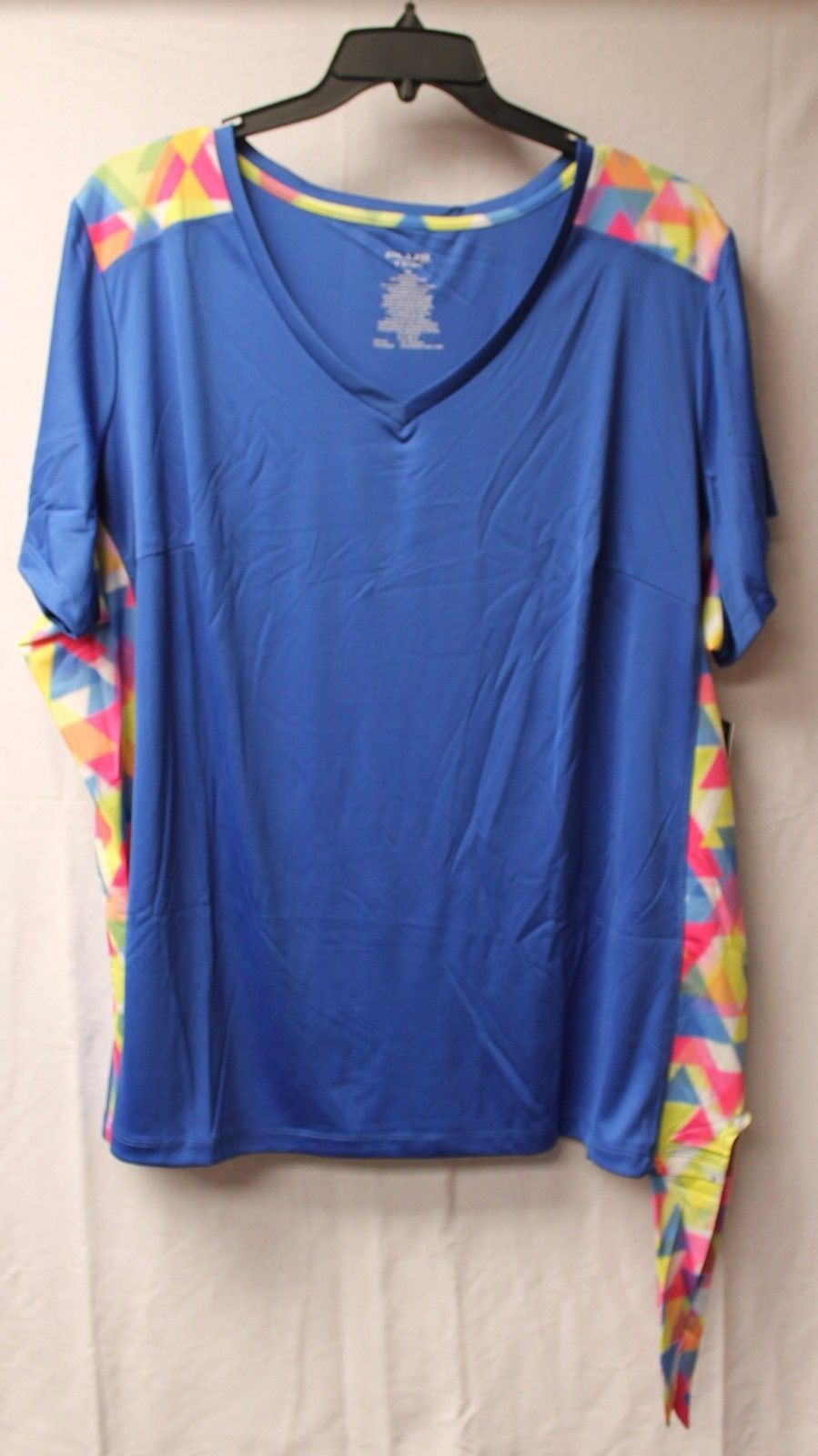 Primary image for NEW WOMENS PLUS SIZE 4X BRITE BLUE TEE SHIRT W GEO PRINT SIDES & CUTE SIDE TIE